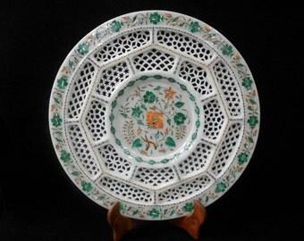 Decorative Collector Plates white marble inlaid semiprecious stone pietra dura