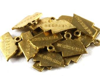 6x Brass Engraved Nebraska State Charms - M057-NE
