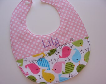 Personalized baby bib in pink polka dot and baby chicks - baby shower gift
