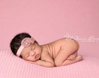 Ainsley Gorgeous Rhinestone and Beaded  Headband Halo Tiara Beautiful Newborn Photo Prop Baby Headband