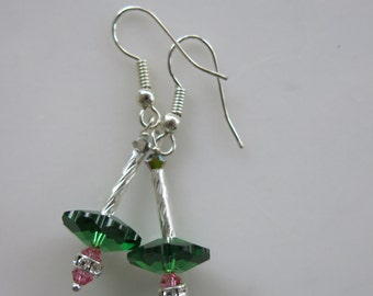 Green Orbit Drop Earrings