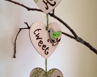 Home Tweet Home Vertical Bunting with Ceramic Bird & Decoupage