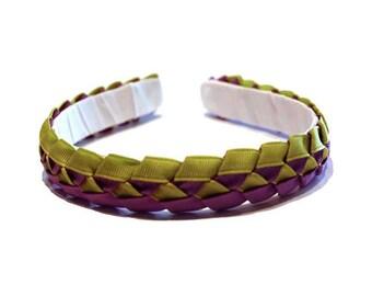 Girls or Ladies Lime Green & Purple | Braided Ribbon Headband | Ready to Ship