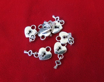 "10pc ""Key to my heart"" charms in antique silver style (BC35)"