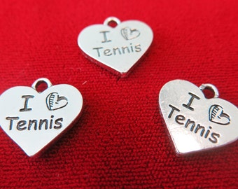"""5pc """"I love tennis"""" charms in antique silver style (BC227)"""