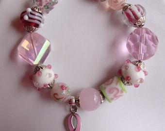 layer bracelet,lampwork glass, breast cancer, glass, beaded bracelet