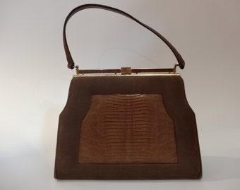 Vintage 1950s Handbag Suede and Lizard Skin by Johansen