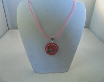 Pink Tie Dye Design Bottle Cap Necklace