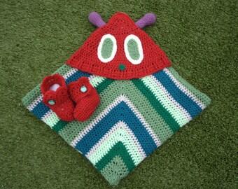 The Hungry Caterpillar Crochet Hooded Blanket - Handmade