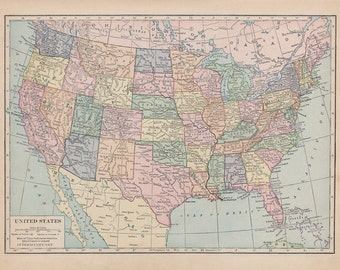 Vintage Map of The United States of  America Fabric - Fat Quarter , pinboard , bulletin, sewing, quilting, supplies, crafting, maps, yardage