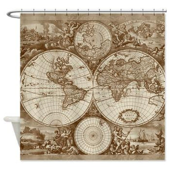 Antique World Map fabric Shower Curtain Vintage map travel