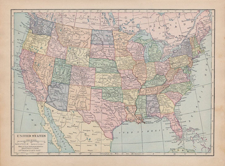 Vintage Map Of The United States Of America Fabric Fat - Us map pinboard