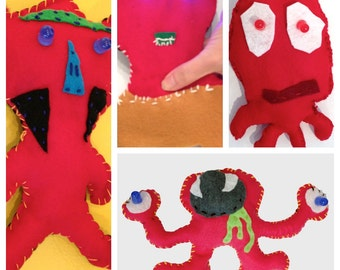 Red Felt Glowie Monster Light-Up Plush Electronics & Sewing Kit