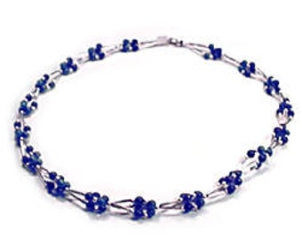 Lapis Lazuli Cluster 5 mm Bead Necklace