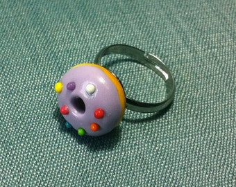 Miniature Purple Donut Sprinkles Adjustable Ring Polymer Clay Pastel Fimo Cute Small Tiny Doughnut Craft Jewelry Hand Made Party Accessory