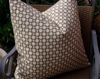 Both Sides - ONE Schumacher Betwixt Biscuit Pillow Covers with Self Cording