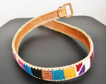 Guatemalan belt,brown leather, Rainbow Tapestry,belt