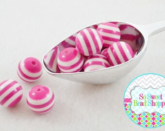 20mm Chunky Resin Striped Beads 10ct, Hot Pink, Acrylic Gumball Beads, Round