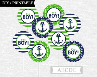 Instant Download Green and Navy Cupcake Toppers Baby Shower decorations Ahoy Its a boy Nautical baby Shower DIY Printable (PDN013)