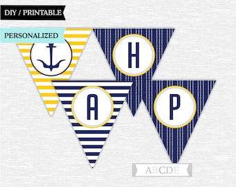 Personalized Navy and Yellow Happy Birthday Banner Nautical Party Decoration PRINTABLE DIY (PDN001)