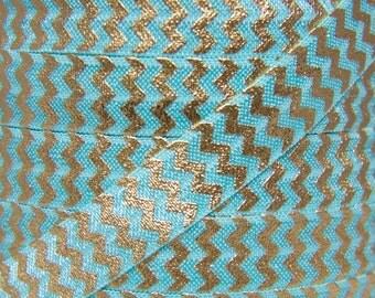SALE Aqua and Gold Metallic Chevron Fold Over Elastic - Elastic for Baby Headbands and Hair Ties - 5 Yards 5/8 inch Printed FOE