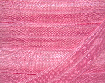 Bubblegum Pink Fold Over Elastic - Elastic For Baby Headbands and Hair Ties - 5 Yards of 5/8 inch FOE