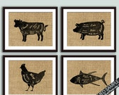 Beef, Chicken, Fish and Pork (Butcher Diagram Series) - Set of 4 - Art Prints (Featured French Country) Kitchen Prints