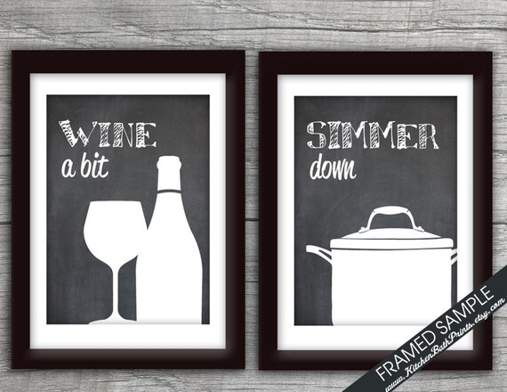 Funny kitchen art print set wine glass sauce pot set of 2 for Funny kitchen set