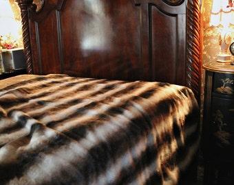 Plush Faux Fur Bedspread - Gray, Black, Brown Chinchilla Stripe - Comforter - Throw Blanket - Cuddle Fur Lining - Custom Made - USA