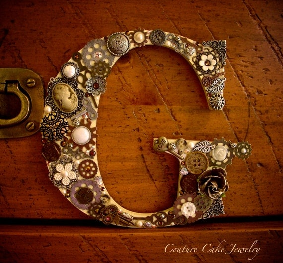 Steampunk Monogram Cake Topper