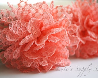 20pcs diy gauze chiffon flower wholesale mini rhinestone set of two coral fabric flowers chiffon flower 35 lace rose mightylinksfo
