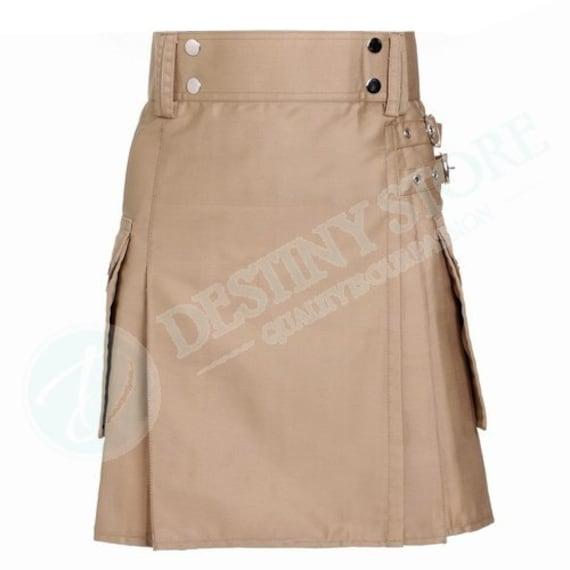 khaki utility working kilt skirt by