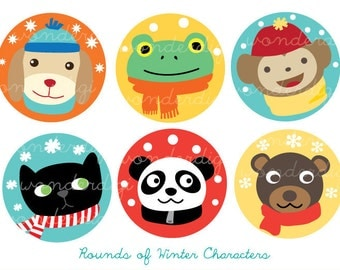 Winter Clip Art Round Labels Xmas Clip art Winter Characters Illustration