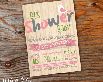 Little Bird Nature Baby Shower Digital Invitation