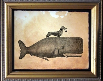 Dachshund Wiener Dog Riding Whale - Vintage Collage Art Print on Tea Stained Paper - Vintage Art Print - Vintage Paper