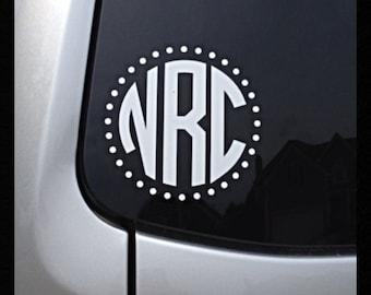 Sale ** Monogrammed Polka Dot Circle Car Window Decal