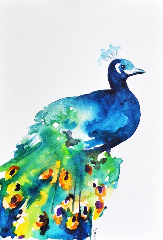 Original Watercolor Painting Peacock Painting Peacock Bird