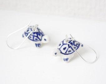 Chinese Blue & white ceramic tortoise earrings, ceramic jewellery, porcelain jewellery,small cute Christmas gift,birthday gift,for her