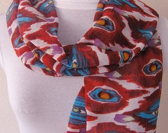 Red blue scarf/ or Blue yellow polka dots scarf/ Shawl/ Wrap