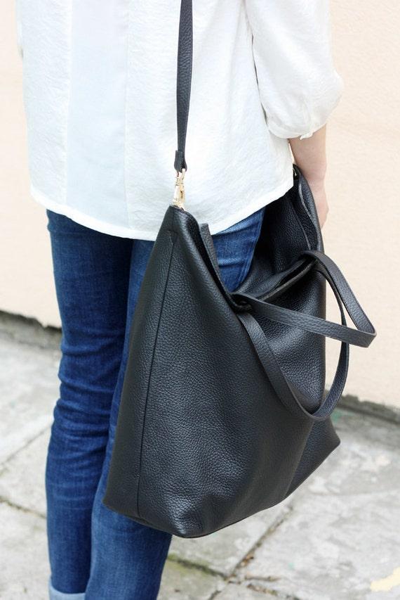 DOMI Top Zip Black Leather Tote Bag
