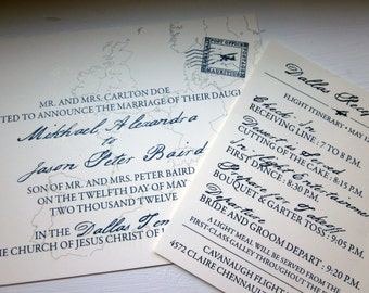 100 (quantity) -  Aviation Wedding Invitations
