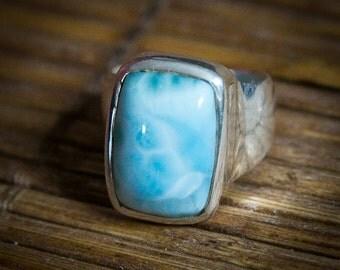 Larimar Ring. Sterling Silver and Larimar ring - Genuine Larimar - AAA Larimar