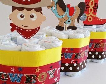Cowboy Diaper Cake, Baby Boy Diaper Cake, Mini Diaper Cakes, Cowboy Center  Pieces