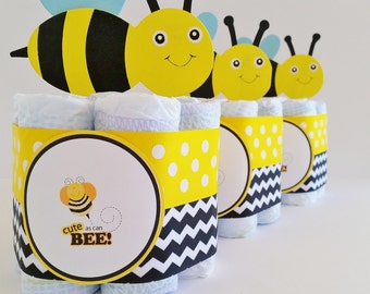 Bee Baby Shower Center Pieces, Cute As A Bee Diaper Cake, Mini Diaper Cake