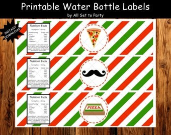Pizza Party, Pizza Birthday Party Decorations, Pizza Party Water Bottle Labels, DIY Party Printables, Instant Download