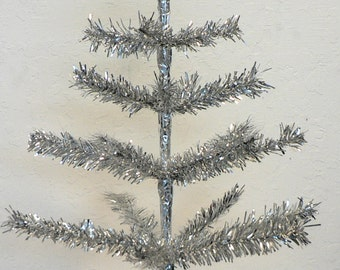 Silver Feather Tinsel Tree 24""