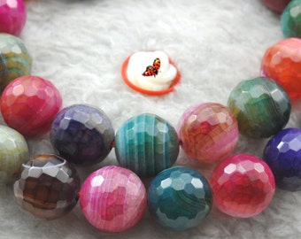 Banded Agate faceted round beads 10mm,37 pcs