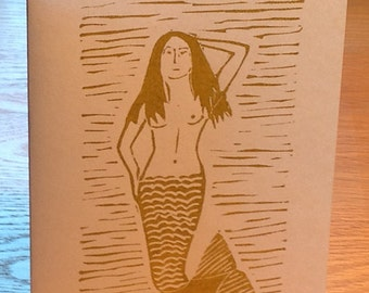Mermaid linocut block print card