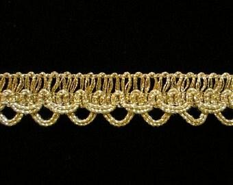 "740.2 CLEARANCE Metallic gimp trim - ""Layered Loop"" - antique-gold - 1/2"" (12mm) - PRICE per 5 YARDS"