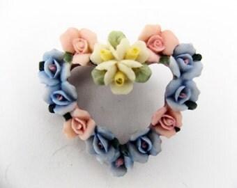 Floral Heart Brooch - Vintage - 1980s
